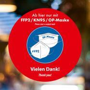 """Αυτοκόλλητο Βιτρίνας """"FFP2 / KN95 / OP-Φοράτε Μάσκα"""""""