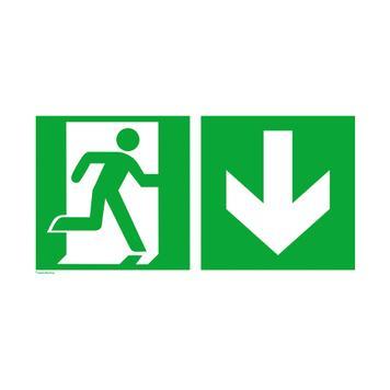 Πινακίδα Διάσωσης - Έξόδος Κινδύνου Κάτω