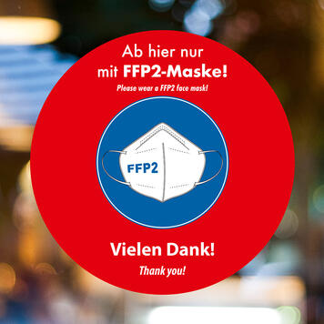 """Αυτοκόλλητο Βιτρίνας """"FFP2 mask wear"""""""